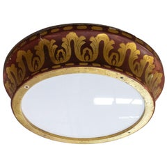 French Art Nouveau Ceiling Light Painted Wood, Early 20th Century