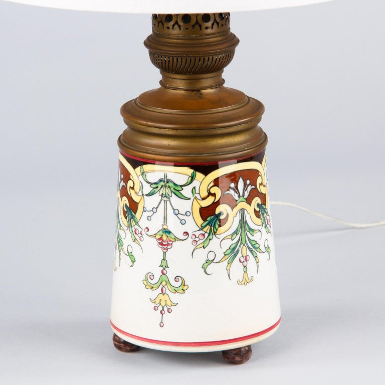 French Art Nouveau Ceramic Lamp, Early 1900s For Sale 6
