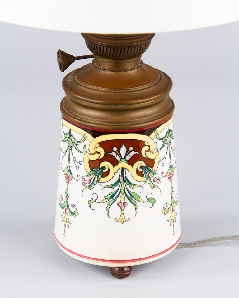 French Art Nouveau Ceramic Lamp, Early 1900s For Sale 4