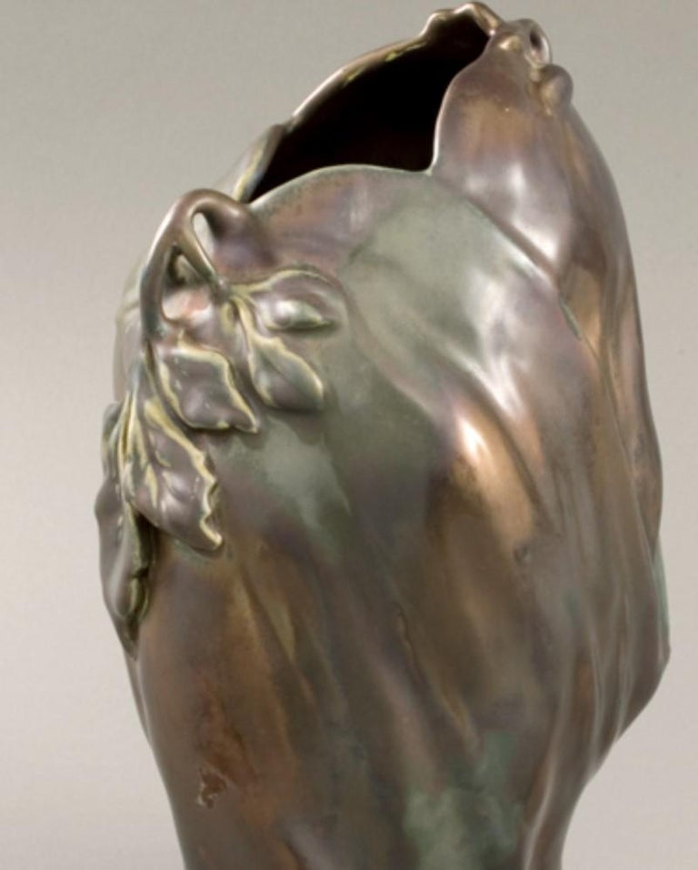 French Art Nouveau Ceramic Vase by Bussière In Excellent Condition For Sale In New York, NY
