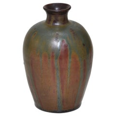 French Art Nouveau Ceramic Vase by Lucien Arnaud Green Brown