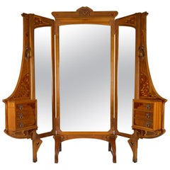 French Art Nouveau Cheval Mirror 5-Panel Screen / Vanity Dressing Table, 1901
