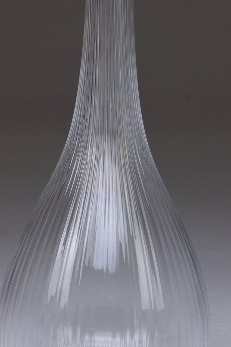 20th Century French Art Nouveau Clear Glass Vase by Daum, France, 1970s For Sale