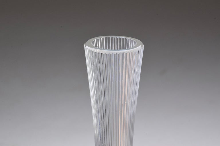 French Art Nouveau Clear Glass Vase by Daum, France, 1970s For Sale 1