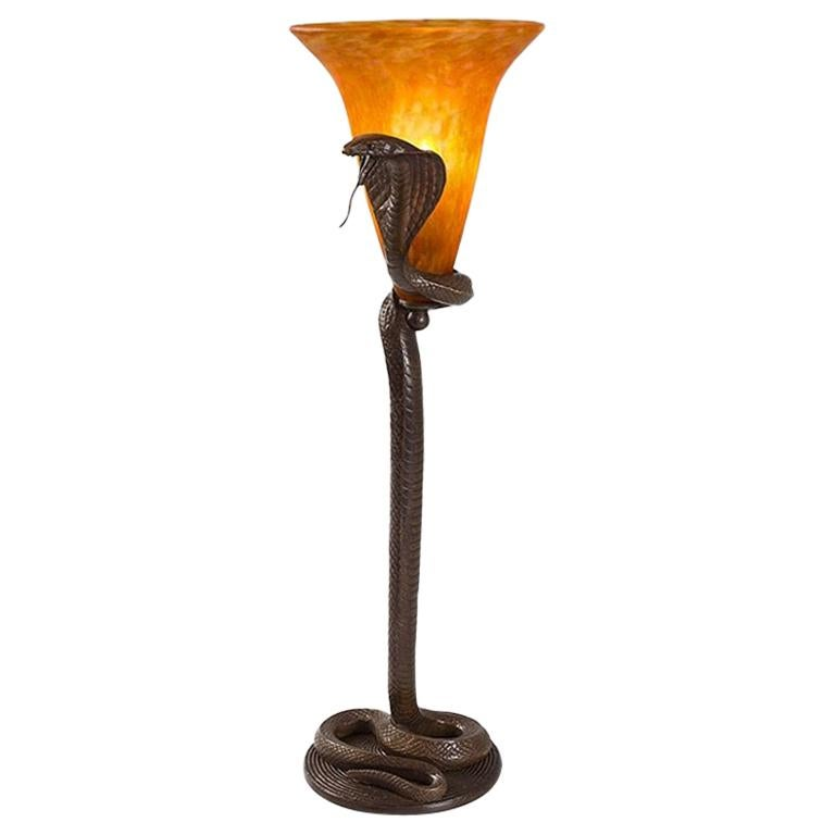 """French Art Nouveau """"Cobra"""" Table Lamp by Edgar Brandt and Daum For Sale"""