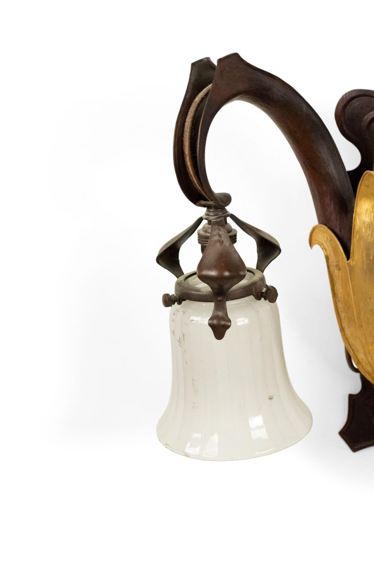 French Art Nouveau Copper Wall Sconces In Good Condition For Sale In New York, NY