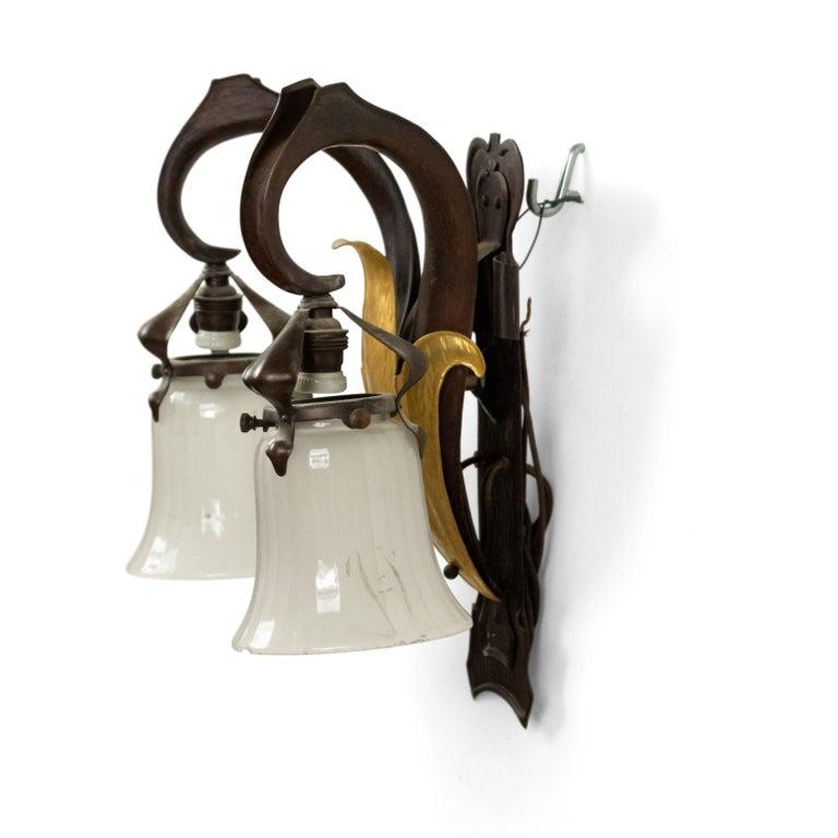 French Art Nouveau Copper Wall Sconces For Sale 4