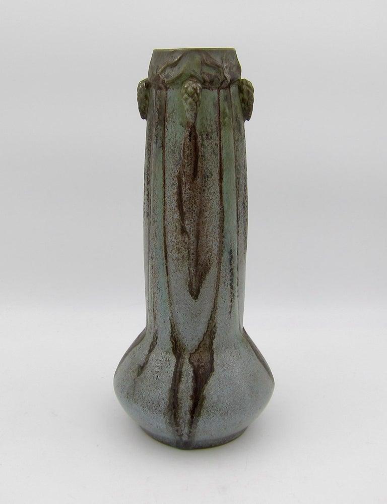Glazed French Art Nouveau Crystalline Vase with Pine Cones Denbac Pottery Vierzon For Sale