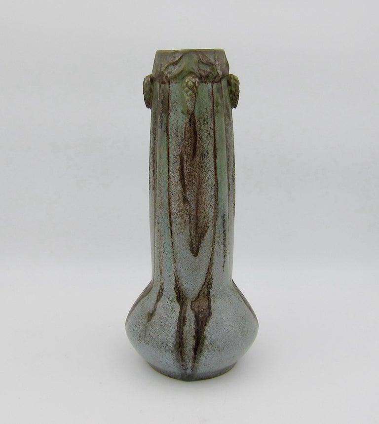 20th Century French Art Nouveau Crystalline Vase with Pine Cones Denbac Pottery Vierzon For Sale