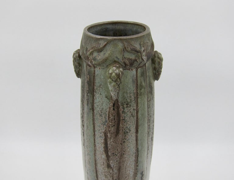 French Art Nouveau Crystalline Vase with Pine Cones Denbac Pottery Vierzon For Sale 2