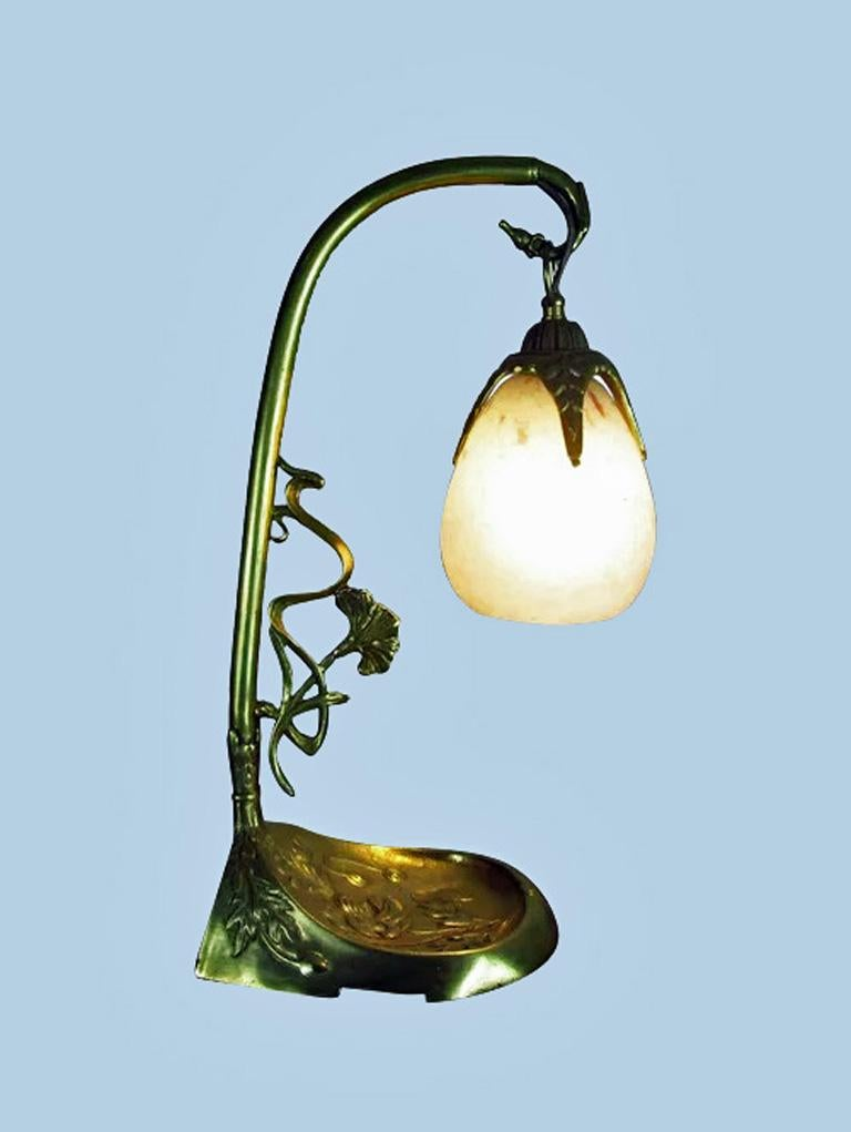 French Art Nouveau Desk Table Lamp Charles Schneider, France, C.1920 In Good Condition For Sale In Toronto, Ontario
