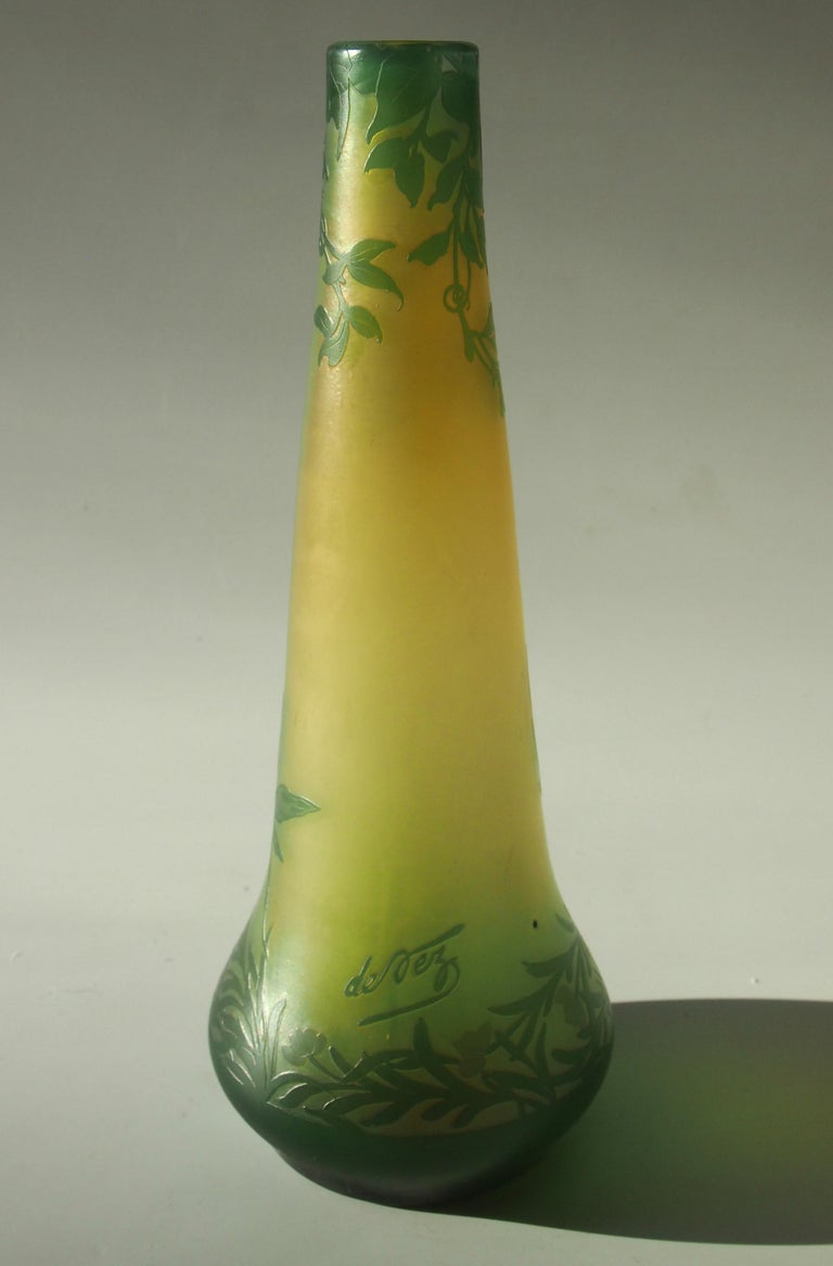 French Art Nouveau DeVez Dragonfly Cameo Glass Vase In Good Condition For Sale In London, GB