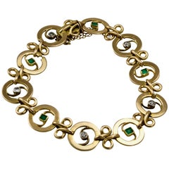 French Art Nouveau Diamond and Emerald Bracelet