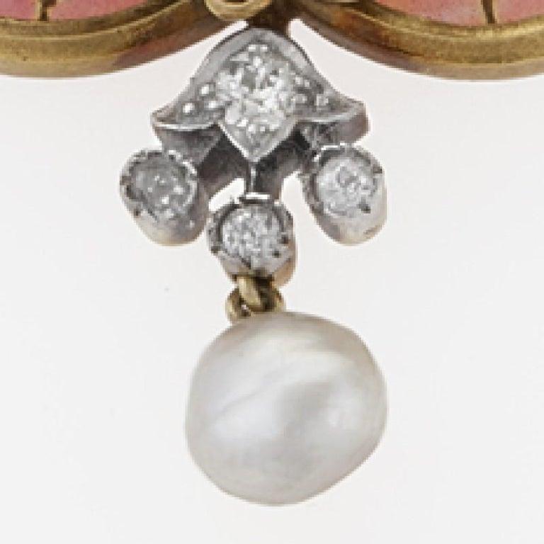 Women's French Art Nouveau Diamond Plique-à-Jour Enamel Pearl and Gold 'Maiden' Brooch For Sale
