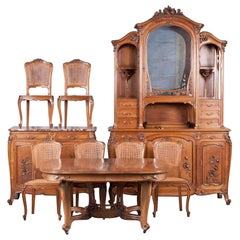 French Art Nouveau Dining Room Set, Carved Walnut from 'Dienst'