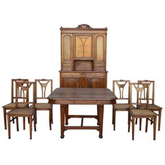 French Art Nouveau Dining Room Set in Carved Walnut, circa 1900