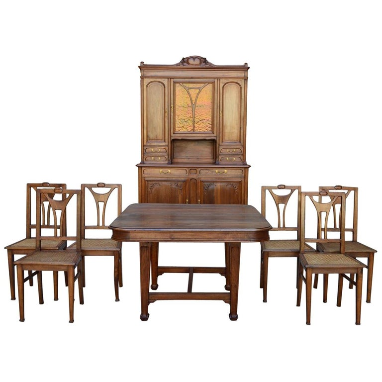 Fantastic French Art Nouveau Dining Room Set In Carved Walnut Circa 1900 Home Interior And Landscaping Staixmapetitesourisinfo