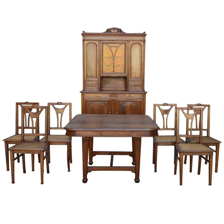 French Art Nouveau Dining Room Set In Carved Walnut Circa 1900 For Sale