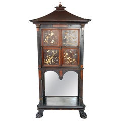 French Art Nouveau Ebonized Cabinet with Inlaid and Overlaid Naturalistic Panels