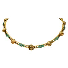 French Art Nouveau Emerald Diamond 18 Karat Gold Figural Collar Necklace