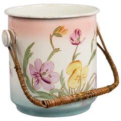 French Art Nouveau Enamel Bucket, 1910s