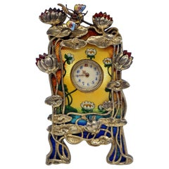 French Art Nouveau Enamel Table Clock with Water-Lilies Silver Mountings