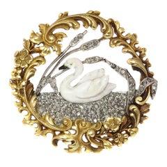French Art Nouveau Enameled 18 Karat Yellow Gold Swan on Diamond Lake Brooch