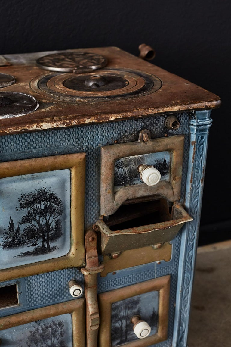 French Art Nouveau Enameled Blue Stove or Oven For Sale 5