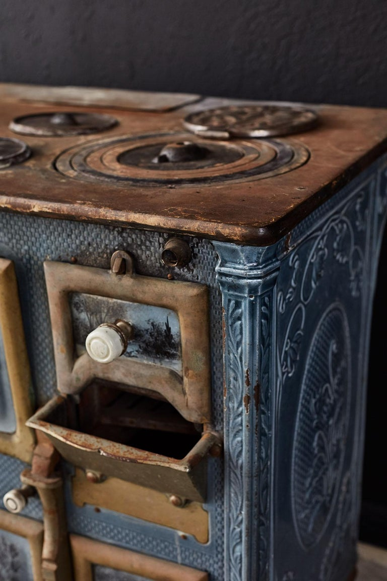 French Art Nouveau Enameled Blue Stove or Oven For Sale 8