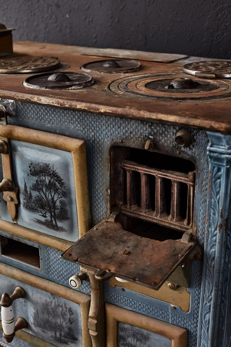 French Art Nouveau Enameled Blue Stove or Oven For Sale 12
