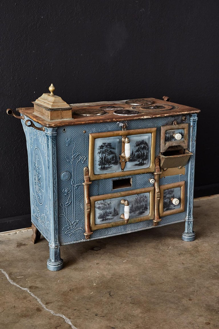 Cast French Art Nouveau Enameled Blue Stove or Oven For Sale