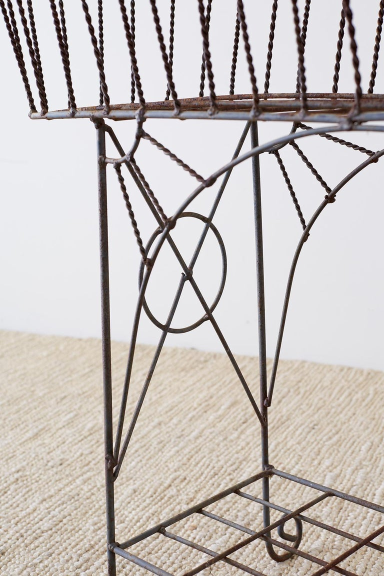 French Art Nouveau Faux-Rope Wire Plant Stand For Sale 5