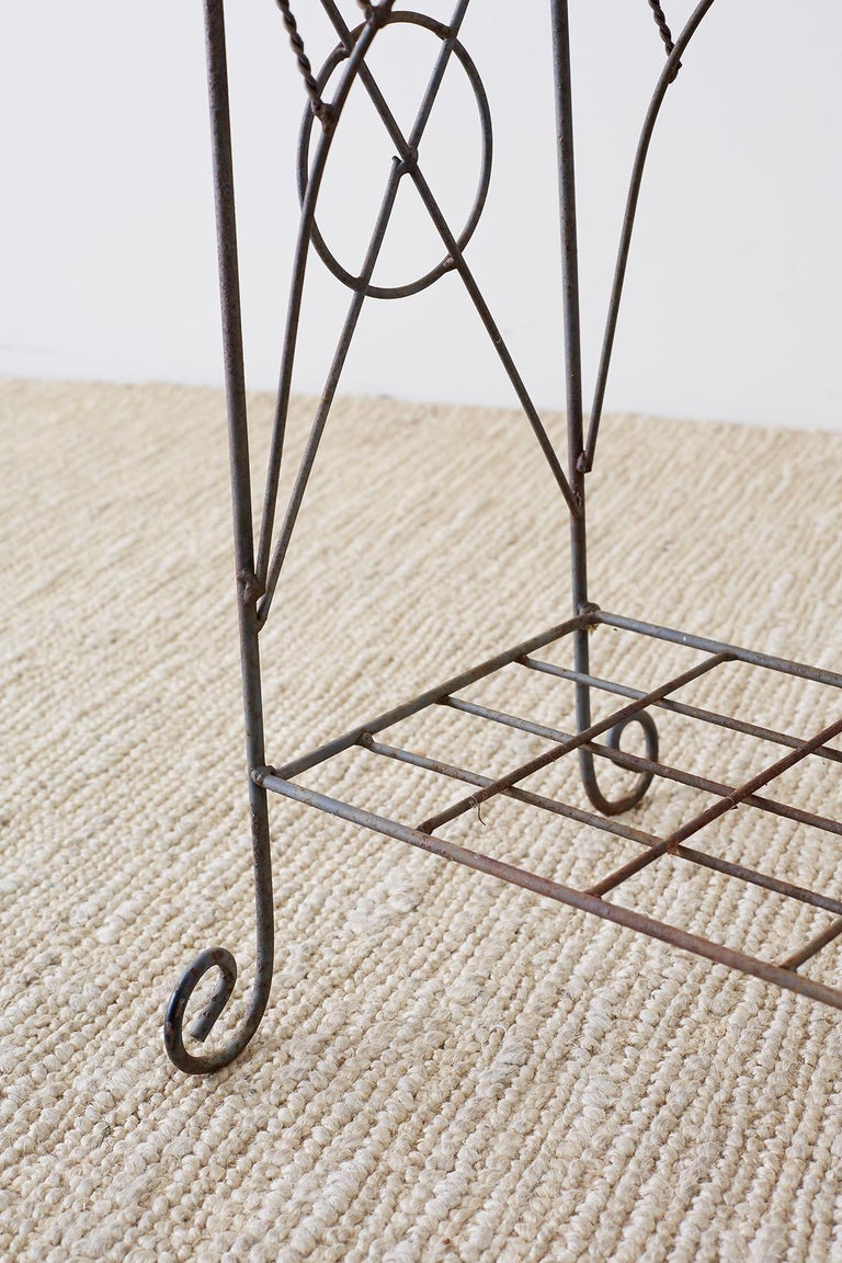 French Art Nouveau Faux-Rope Wire Plant Stand For Sale 6
