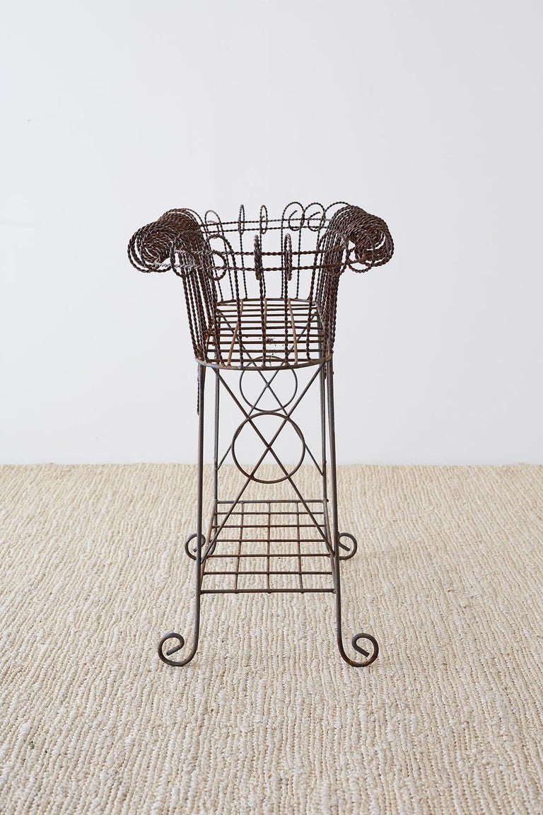 French Art Nouveau Faux-Rope Wire Plant Stand For Sale 7