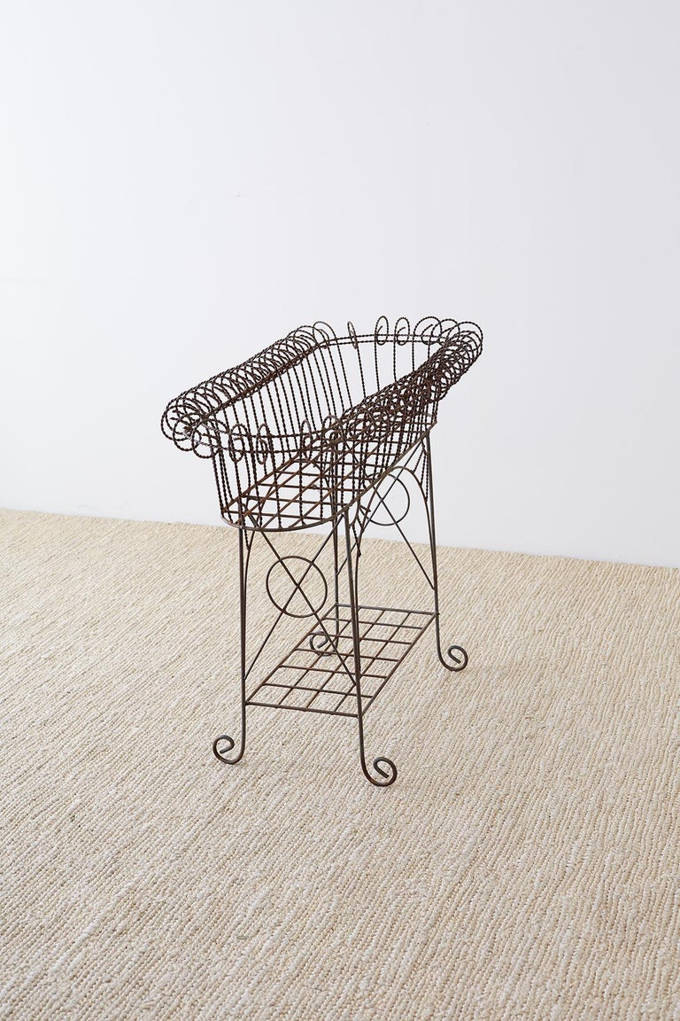 French Art Nouveau Faux-Rope Wire Plant Stand For Sale 8