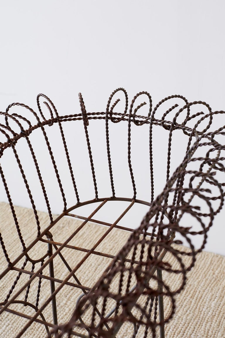 French Art Nouveau Faux-Rope Wire Plant Stand For Sale 9