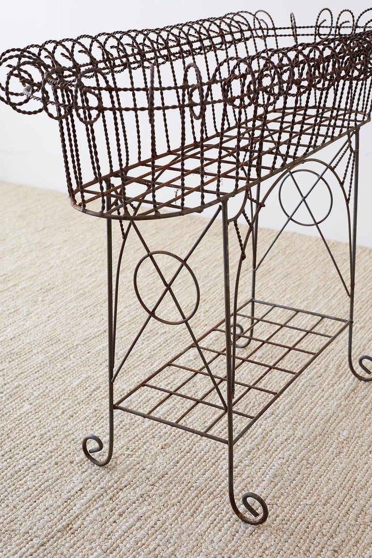 French Art Nouveau Faux-Rope Wire Plant Stand For Sale 11