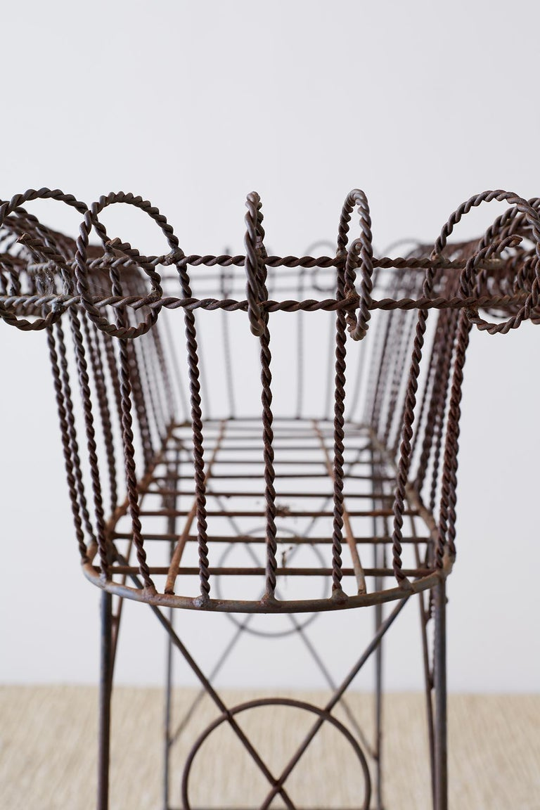 French Art Nouveau Faux-Rope Wire Plant Stand For Sale 12