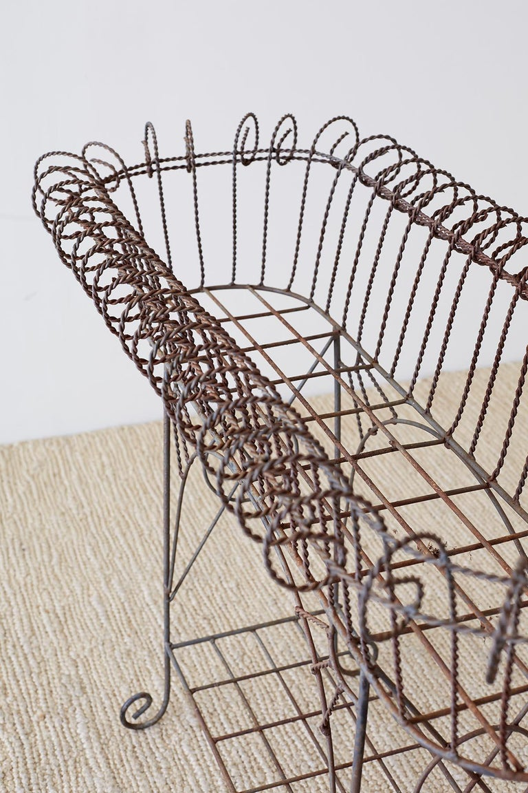 French Art Nouveau Faux-Rope Wire Plant Stand For Sale 13