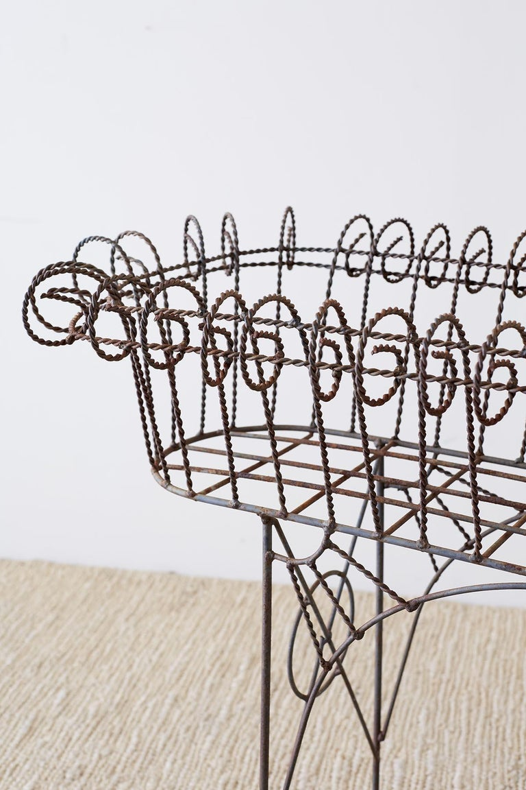 Iron French Art Nouveau Faux-Rope Wire Plant Stand For Sale