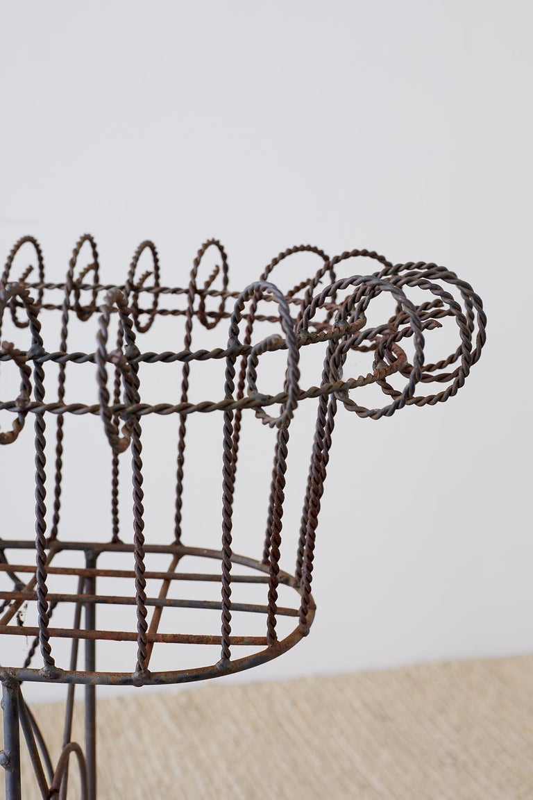 French Art Nouveau Faux-Rope Wire Plant Stand For Sale 4