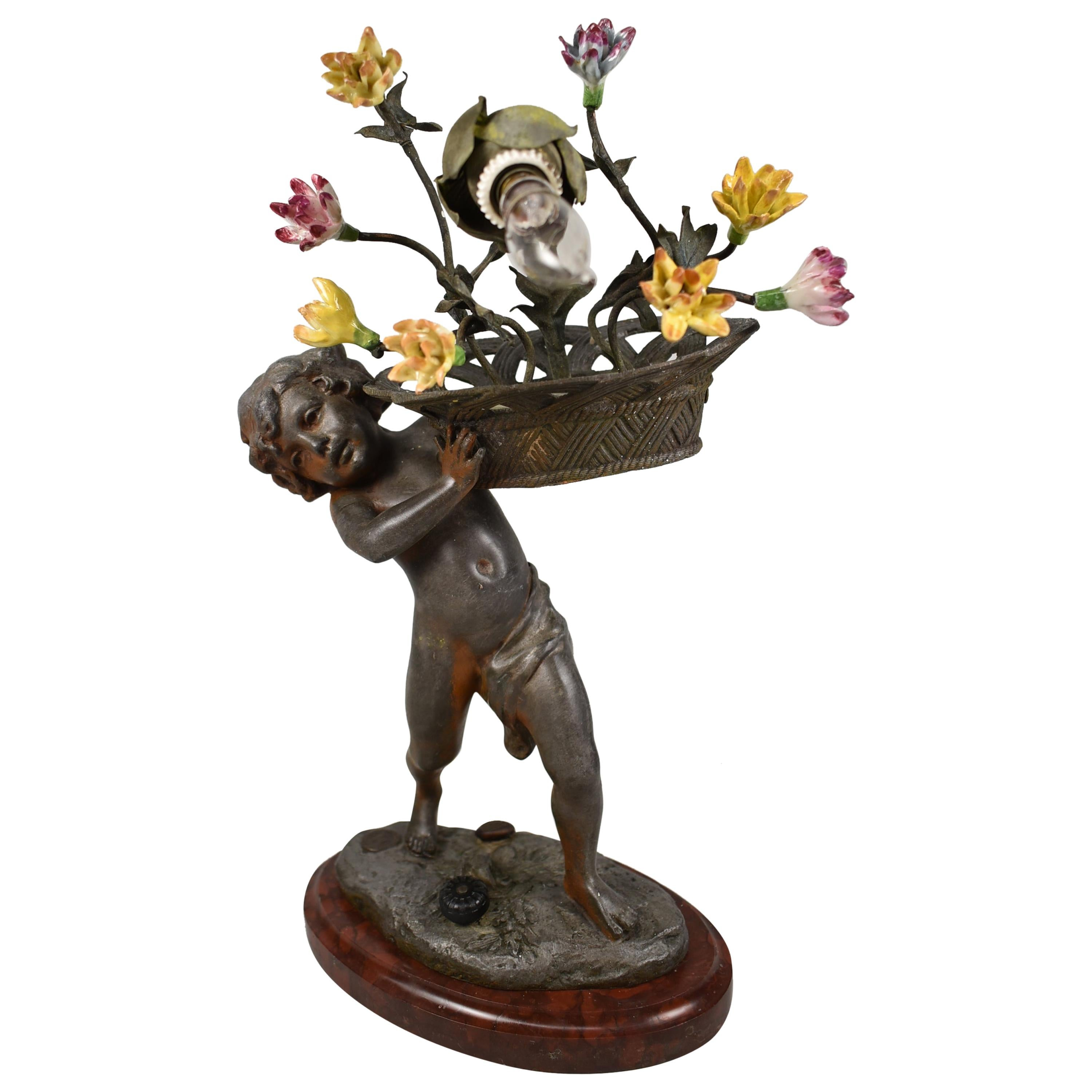 French Art Nouveau Figural Lamp with Flower Basket Charles Perror, France