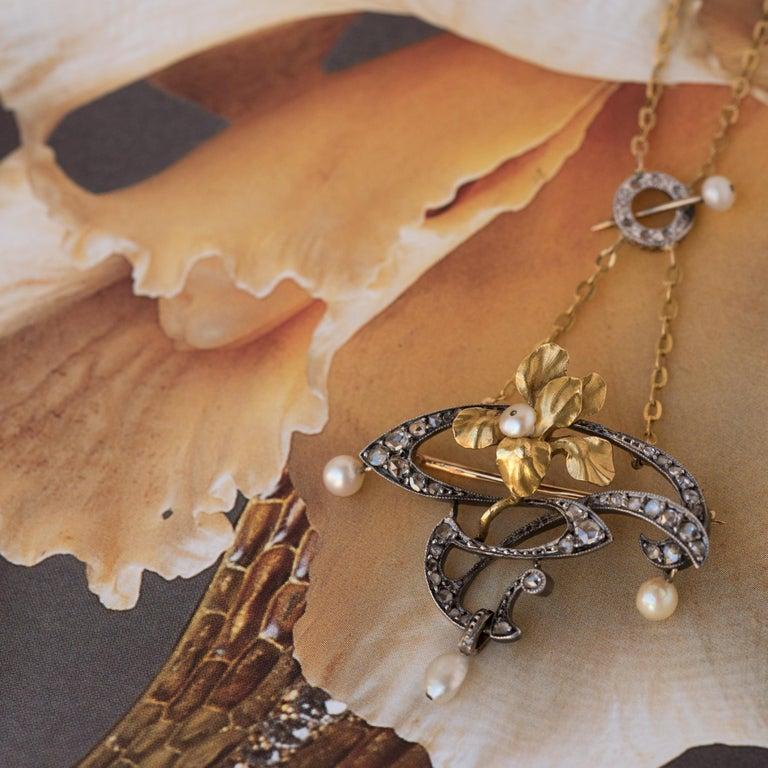 French Art Nouveau Fine Pearl Diamond Silver Gold Pendant Brooch For Sale 6