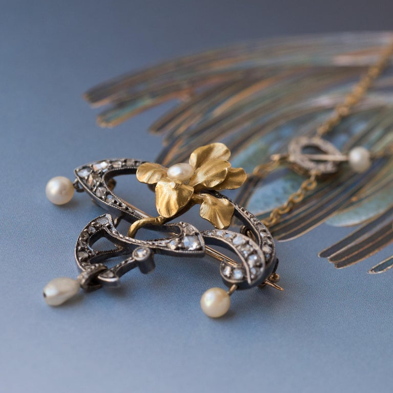 French Art Nouveau Fine Pearl Diamond Silver Gold Pendant Brooch For Sale 1