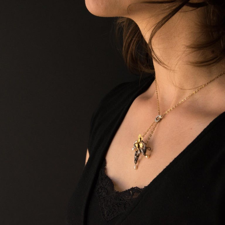 French Art Nouveau Fine Pearl Diamond Silver Gold Pendant Brooch For Sale 2