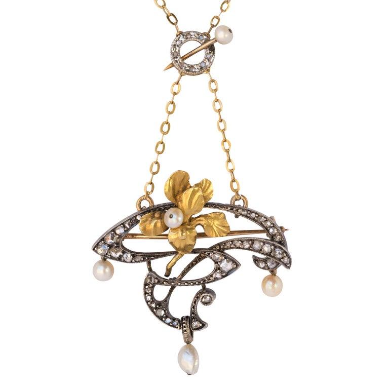 French Art Nouveau Fine Pearl Diamond Silver Gold Pendant Brooch For Sale