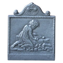 French Art Nouveau Fireback with a Rural Scene