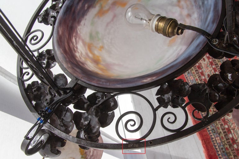 French Art Nouveau Five-Light Wrought Iron and Glass Chandelier Signed Lorrain For Sale 11