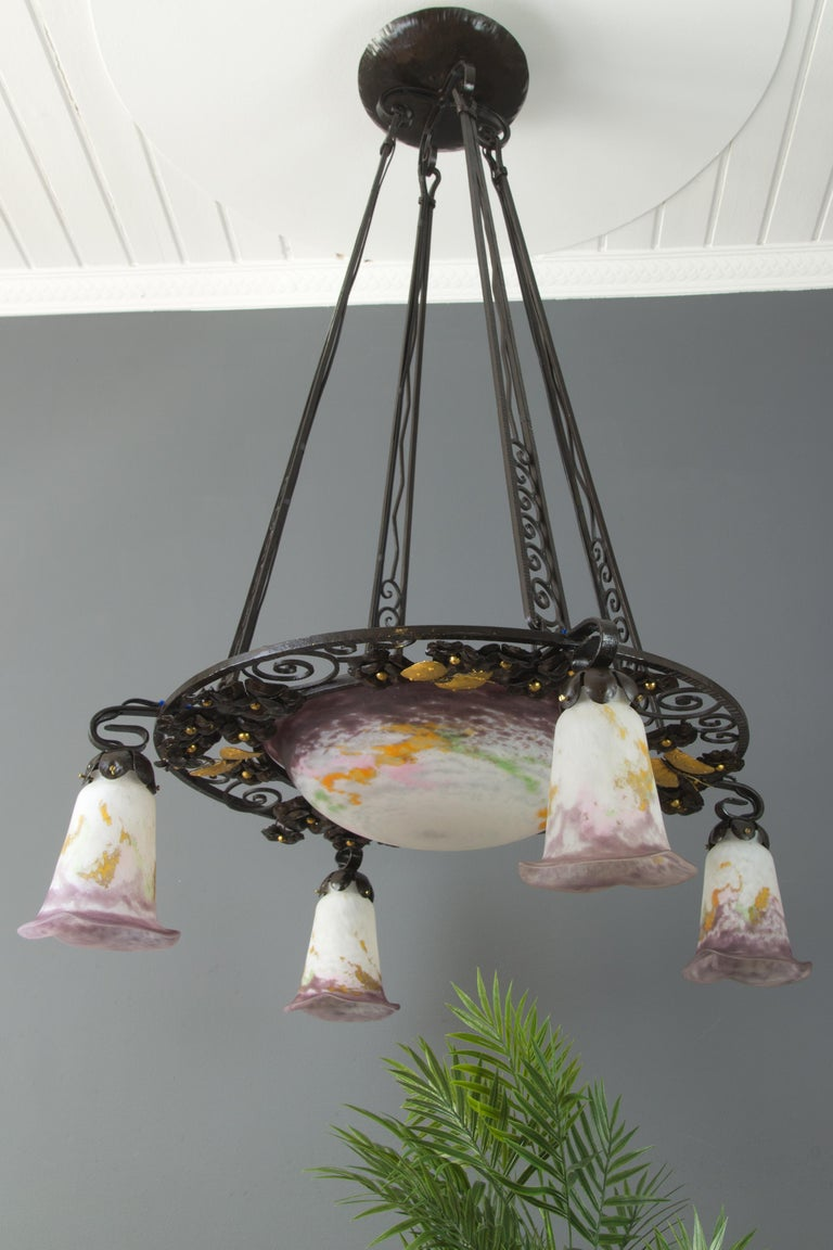 French Art Nouveau Five-Light Wrought Iron and Glass Chandelier Signed Lorrain For Sale 16