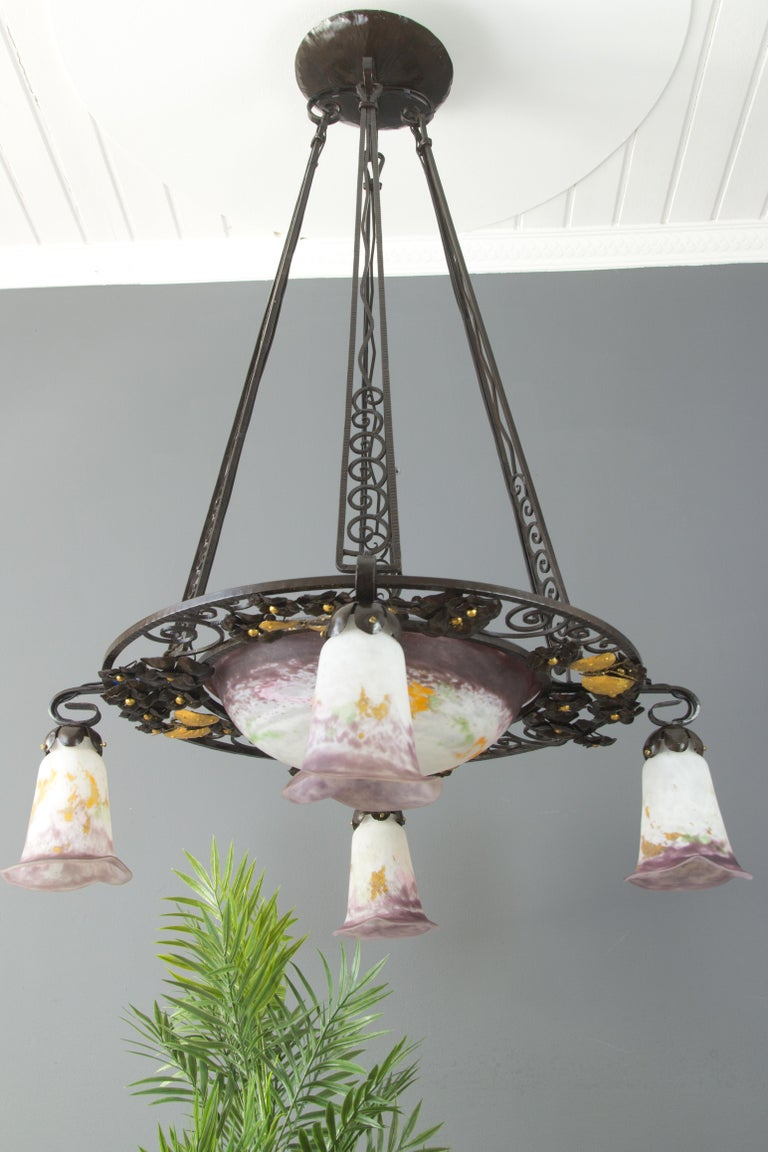 French Art Nouveau Five-Light Wrought Iron and Glass Chandelier Signed Lorrain For Sale 1